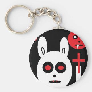 evil bunny basic round button keychain