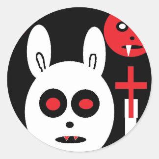 evil bunny classic round sticker