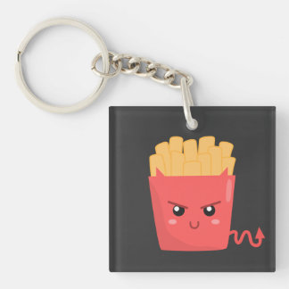 Evil but Kawaii French Fries Double-Sided Square Acrylic Keychain
