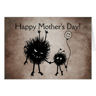 Evil Cartoon Bug Gothic Mother's Day Card