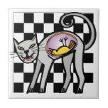 Evil Cat Ceramic  Tile