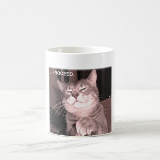 Evil cat says proceed with the master plan coffee mug