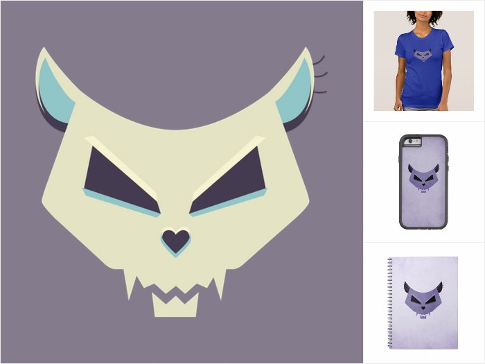 Evil Cat Skull Zazzle collection