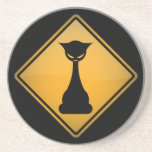 Evil Cat Warning Sign Coasters