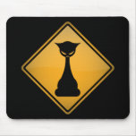 Evil Cat Warning Sign Mouse Pad