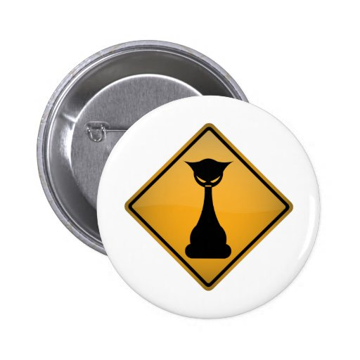 Evil Cat Warning Sign Pinback Buttons