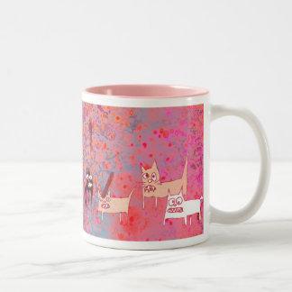 evil cats Two-Tone coffee mug