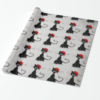 Evil Christmas Black Cat Gift Wrapping Paper