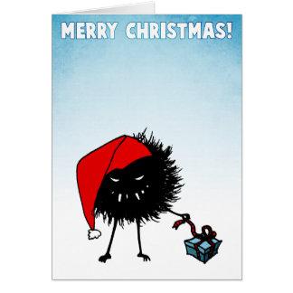 Evil Christmas Bug Opening Present Card