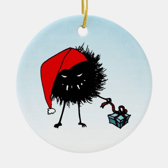 Evil Christmas Bug Opening Present Ceramic Ornament