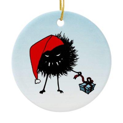 Evil Christmas Bug With Present Christmas Tree Ornaments