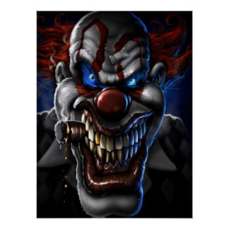 Evil Clown and Cigar Poster