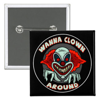 Evil Clown Biker T shirts Gifts 2 Inch Square Button