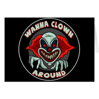 Evil Clown Biker T shirts Gifts Card