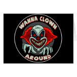Evil Clown Biker T shirts Gifts Greeting Card