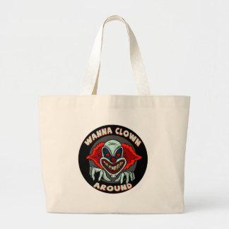 Evil Clown Biker T shirts Gifts Large Tote Bag