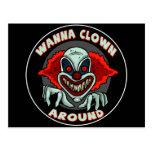 Evil Clown Biker T shirts Gifts Postcard