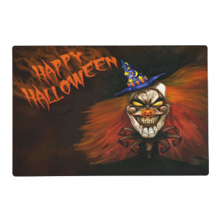 Evil Clown Double Sided Halloween Placemat