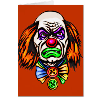 Evil Clown Face Greeting Cards