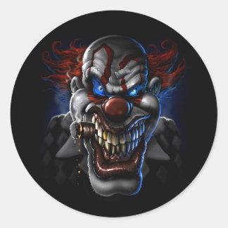 Evil Clown Face Classic Round Sticker
