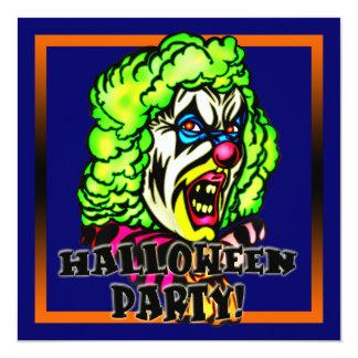 """Evil Clown Halloween Party Invitation 5.25"""" Square Invitation Card"""