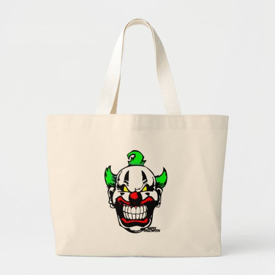 EVIL CLOWN ( Happy Halloween ) Large Tote Bag