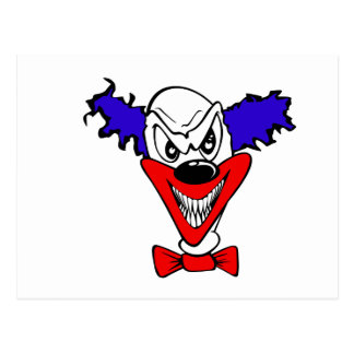 Evil Clown Head Postcard