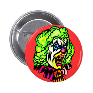Evil Clown In Curled Wig 2 Inch Round Button