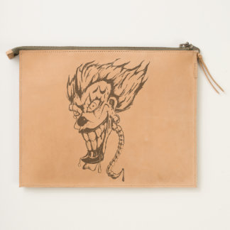Evil clown Leather Travel Pouch