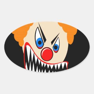 Evil Clown Oval Sticker