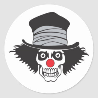 Evil Clown Skull In Top Hat Classic Round Sticker