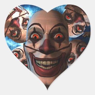 Evil Clowns with Bulging Eyes Heart Sticker