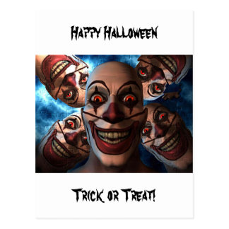 Evil Clowns with Bulging Eyes Postcard