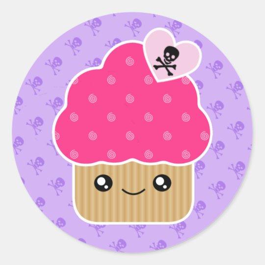 Evil Cute Kawaii Cupcake Of Death Stickers | Zazzle.com