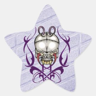 Evil Cyborg Skull Star Sticker