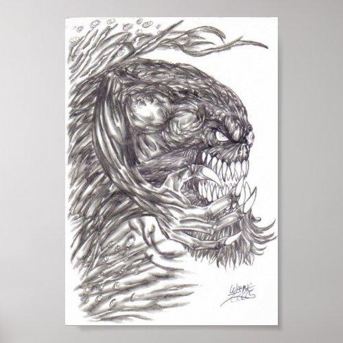 Evil Demon Creature Art Poster Print print