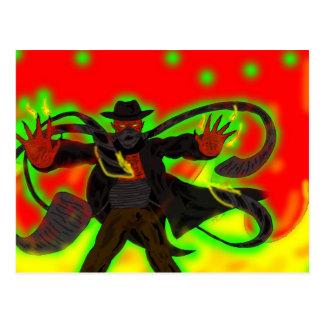 Evil Demon Halloween Postcard