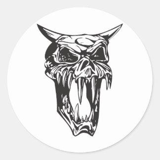 evil demon skull classic round sticker