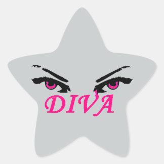Evil Diva with vampy eyes Star Sticker