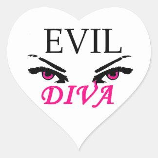 Evil Diva with vampy eyes Heart Sticker