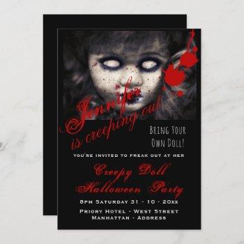 EVIL DOLL Halloween Invite Dead Creepy Scary