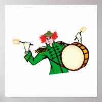 Evil Drummer Clown Poster