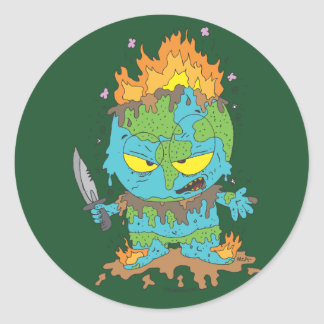 EVIL EARTH MONSTER CLASSIC ROUND STICKER