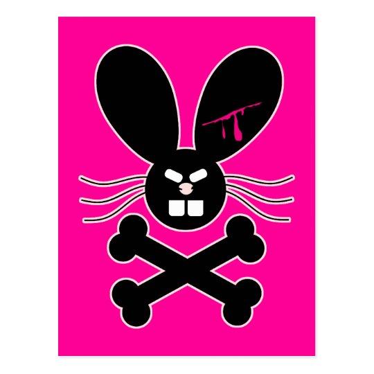 Evil Emo Bunny Crossbones Postcard