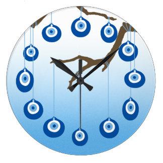 Evil Eye Amulet On Branch Wallclocks