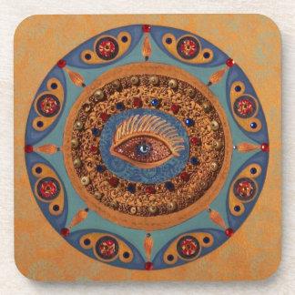 Evil Eye Mandala: Good Luck Symbol Beverage Coaster