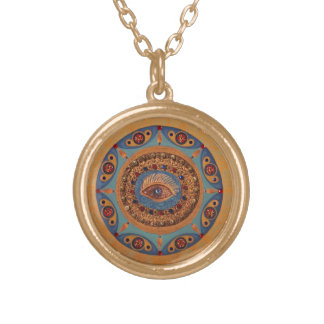 Evil Eye Mandala: Good Luck Symbol Gold Plated Necklace