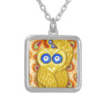 Evil eye owl protection silver plated necklace