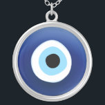 """Evil Eye Protection necklace<br><div class=""""desc"""">Protect yourself from the evil eye by wearing this Mediterranean blue eye amulet (Greek Mati / Turkish &quot;Nazar Boncugu&quot;) silver necklace / lucky charm.</div>"""