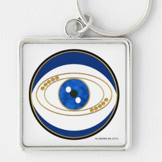 Evil Eye Silver Square Keychain